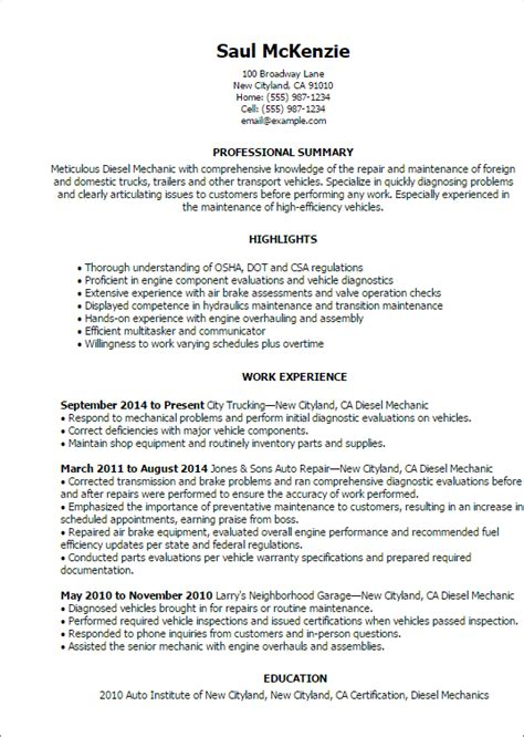 Diesel Mechanic Resume Template Best Design Tips Myperfectresume Diesel Mechanic Resume Template
