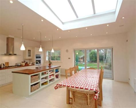 Kitchen Dining Room Extension Photo Of Airy Beige White Dining Room Kitchen With Kitchen