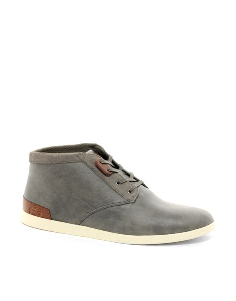 lacoste fairbrooke 6 chukka boots in gray for grey