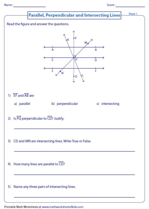 Intersecting Parallel And Perpendicular Lines Worksheet by Parallel Perpendicular And Intersecting Lines Worksheets