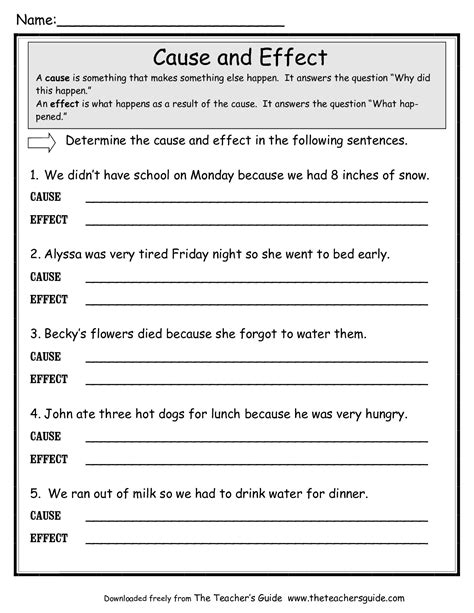 Cause And Effect Worksheets For Middle School by Cause And Effect Worksheets From The S Guide