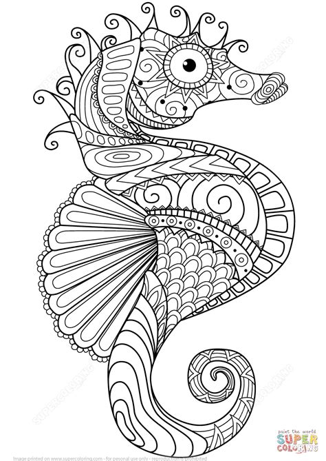 free printable coloring pages for adults zen caballito de mar zentangle super coloring mandalas