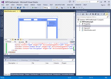 xaml layout basics creating a wpf chat client server application net c