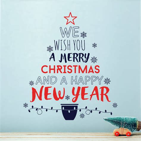 we wish you a merry christmas tree wall decal sticker by