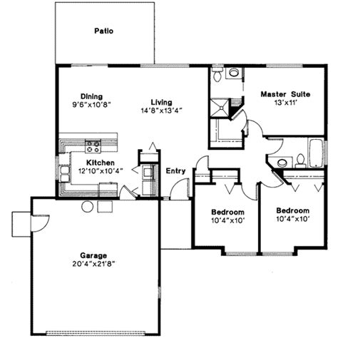 653609 simple 3 bedroom 2 5 bath house plan house ranch style house plan 3 beds 2 00 baths 1156 sq ft plan
