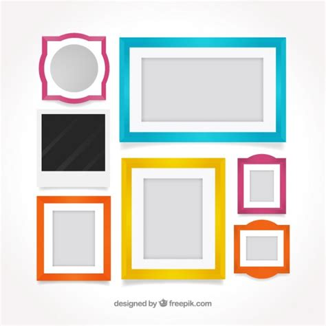 colored picture frames stylish colored frames in flat design vector free