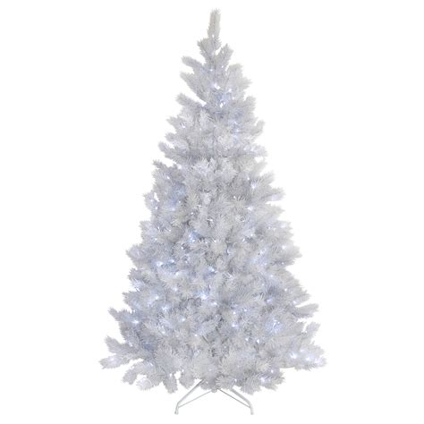 white pre lit tree 5ft 6ft 7ft white glitter pine artificial pre lit led lights tree ebay