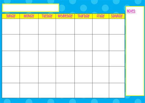 search results for monday thru sunday calendar template