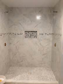 12x24 Tile In A Small Bathroom My Shower Is Almost Finished Porcelain Quot Marble Quot Tile