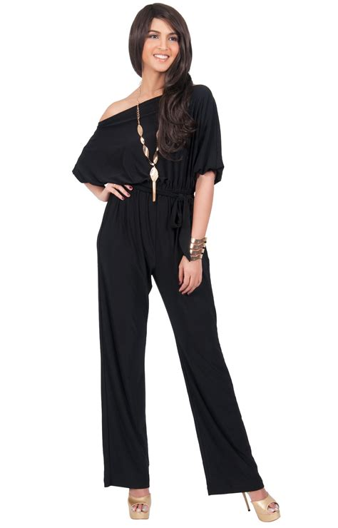 one jumpsuit with one shoulder 3 4 sleeve jumpsuit