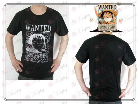 Kaos Luffy Wanted Black Onepiece one accessories luffy wanted t shirt black