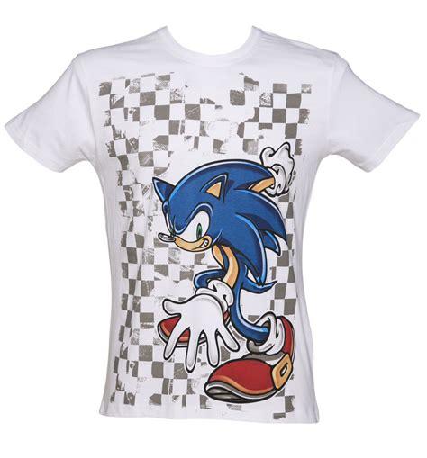 s chequered sonic the hedgehog sega t shirt