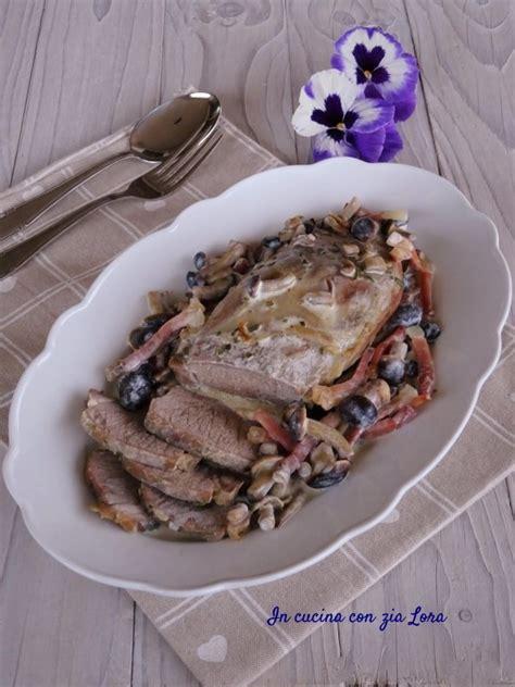 cucinare il filetto di maiale intero filetto di maiale con funghi e speck in cucina con zia lora