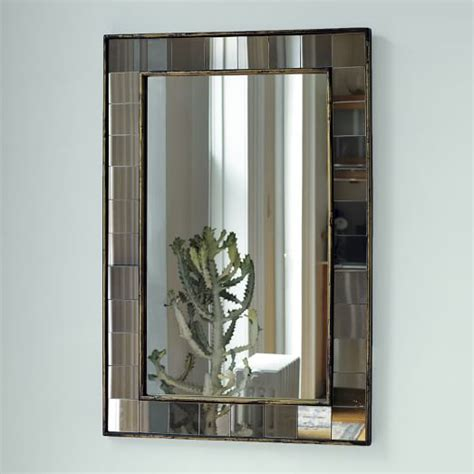 wall mirror antique tiled wall mirror west elm