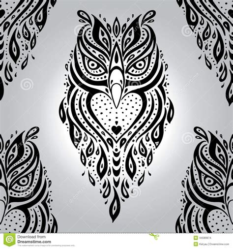 tribal pattern owl background decorative owl seamless pattern stock vector image