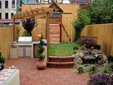 This particular yard creates spaces for children an outdoor kitchen