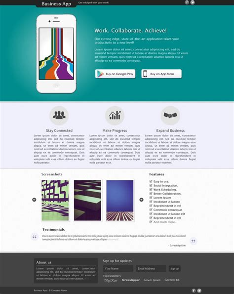 Business App Landing Page By Gigacore On Deviantart Create Free Landing Page Templates