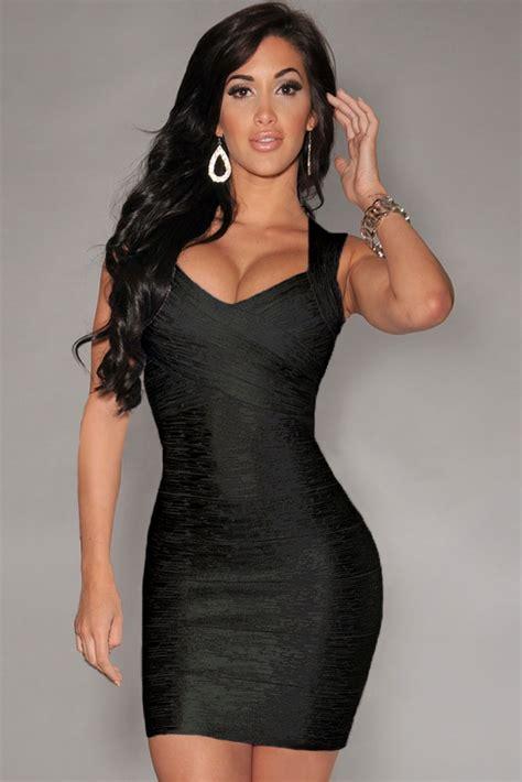 Styles That Stick Black Dress by New Fashion Black Foil Print Bandage Dress
