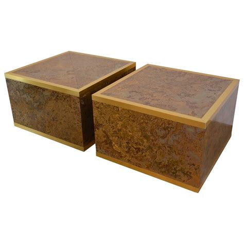 Tortoise Shell Table L by Faux Tortoise Shell And Brass Cube Tables By At 1stdibs