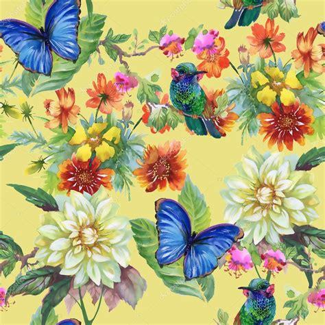 fiori e farfalle prato con fiori e uccelli e farfalle foto stock 169 kostan