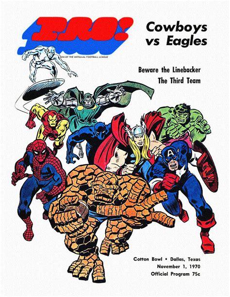 Dallas Cowboys Duvet Cover Cowboys V Eagles Superhero Program Painting By Big 88 Artworks