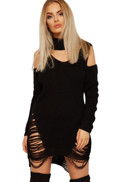 Ca161 New Rope Knit Top womens cable knitted top choker jumper dress distressed cold shoulder new ebay