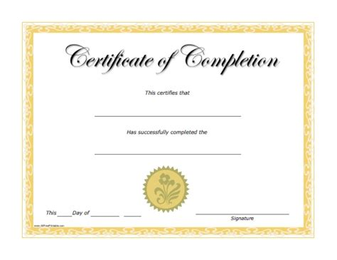 free certificate of completion template completion certificate free printable allfreeprintable