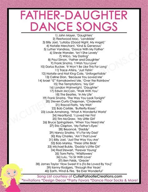 FREE Printable List of Top 40 Father Daughter Dance Songs