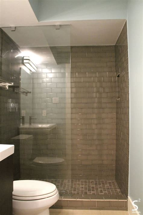 bathroom tile houston modern bathroom grey subway tile glass wall dark vanity