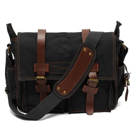 There Were Shoes Now Bags by S Vintage Canvas Leather Satchel School