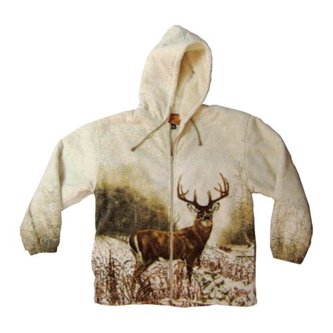 deer scene sherpa lined fleece jacket  camo