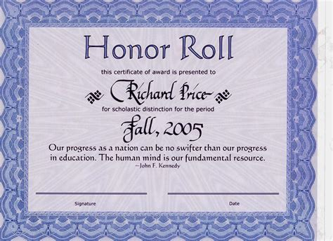 10 best images of honor roll certificate template download