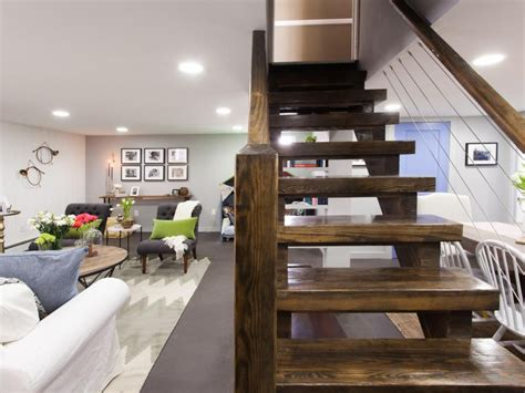 living room with basement stairs 14 basement ideas for remodeling open stairs basements