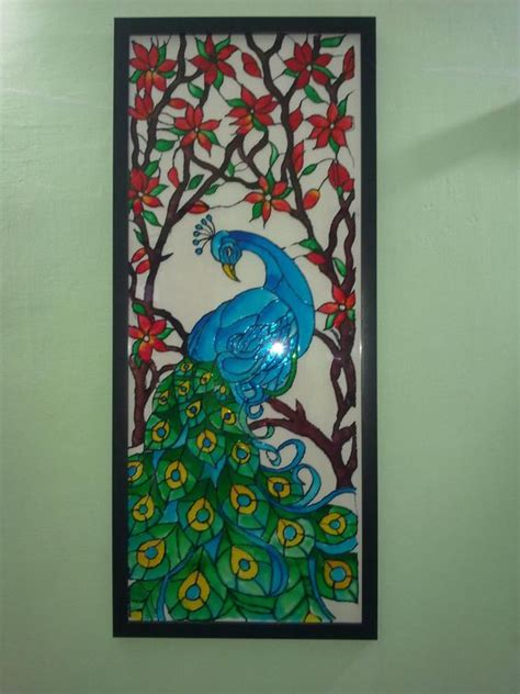 acrylic painting hobby ideas a glass painting of a peacock using fevicryl hobby ideas