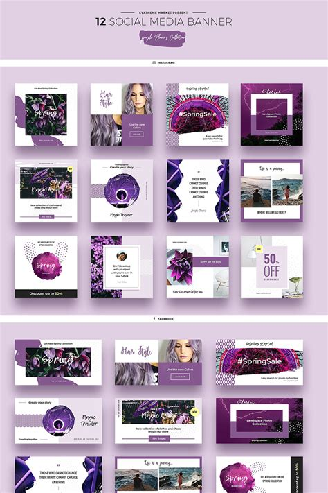 social media templates design purple flowers social media designs psd template 66946