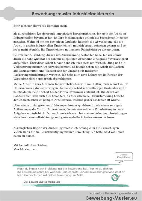Kfz Lackierer Bewerbung by Kostenloses Bewerbungsmuster Industrielackierer In
