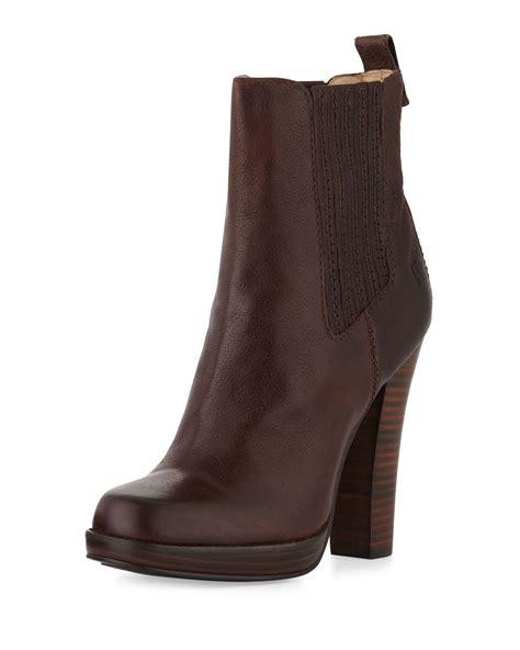 frye chelsea boot frye donna stackedheel chelsea boot brown in brown