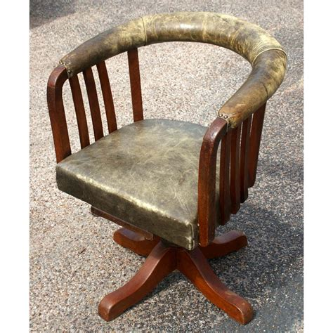 wood and leather swivel desk chair midcentury retro style modern architectural vintage