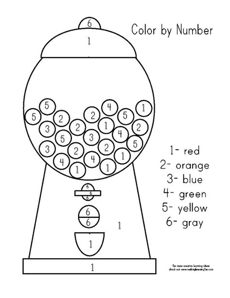 gumball machine color by number coloring sheets pinterest