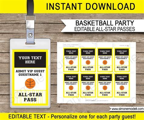 vip name tags printable black and yellow basketball vip pass template all star pass