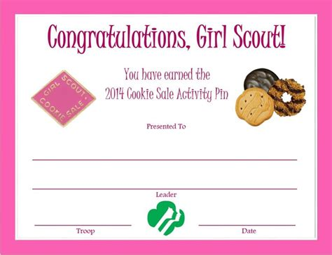 2014 cookie sale activity pin certificate girl scouts