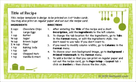 Free Recipe Cards Templates For Word by Free Printable Recipe Card Template For Word
