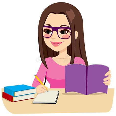 wallpaper cartoon study girl studying taking notes stock vector illustration of