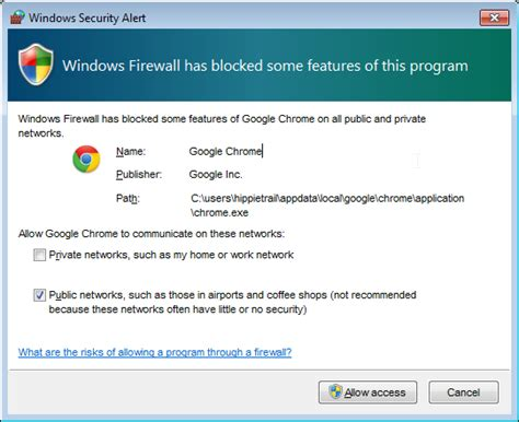 chrome has blocked it why does windows firewall want to block google chrome