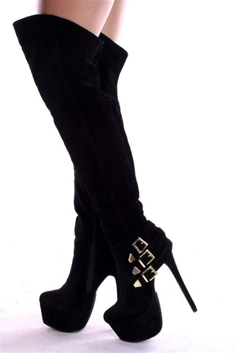 Heels Pita Suede black the knee faux suede 6 inch stilleto heel