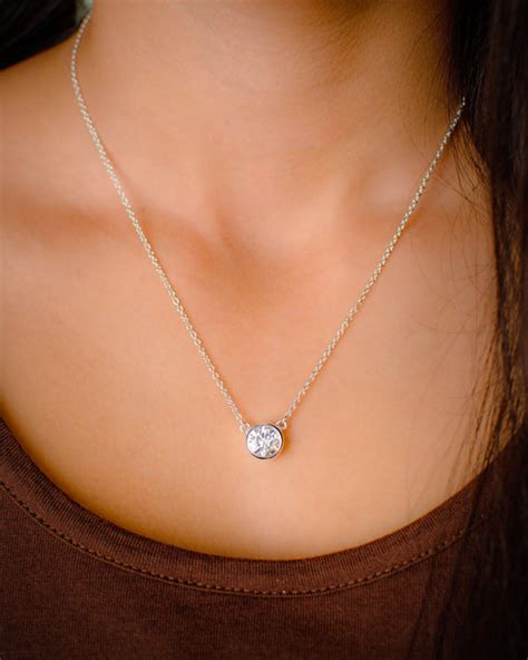 Yellow Sapphire 3 88crt Big Size large solitaire cz necklace bezel set in idealpin