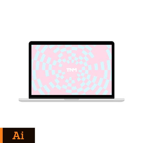 flat vector mockup illustrator template for apple macbook