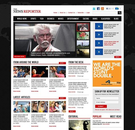 templates for news website free download 50 beautiful free and premium psd website templates and