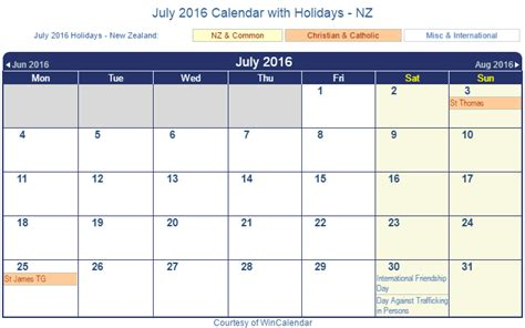 printable calendar new zealand 2016 print friendly july 2016 new zealand calendar for printing