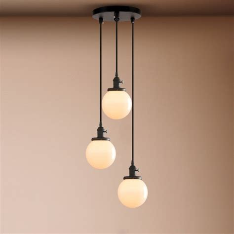cluster 3 vintage industrial ceiling pendant light white